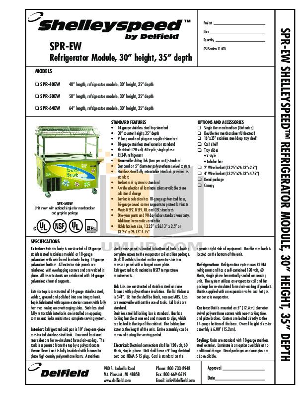 pdf for Delfield Refrigerator Shelleyspeed SPR-50EW manual