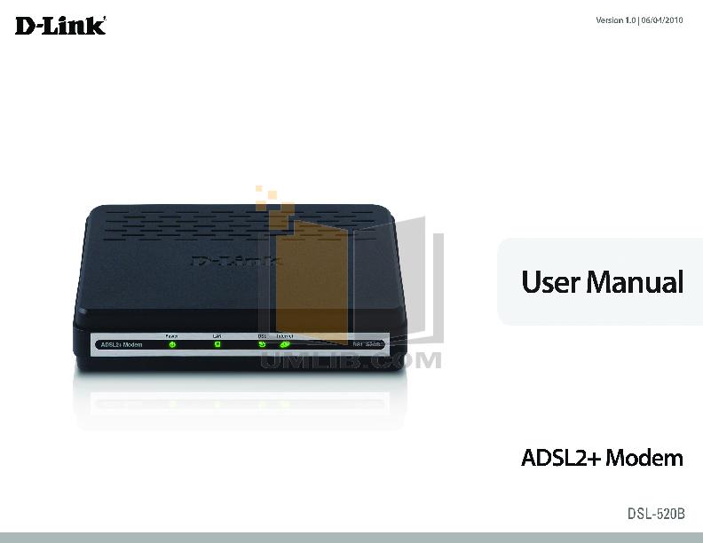 D-link dsl-520b adsl2+ ethernet modem | dlinkworks. Com.