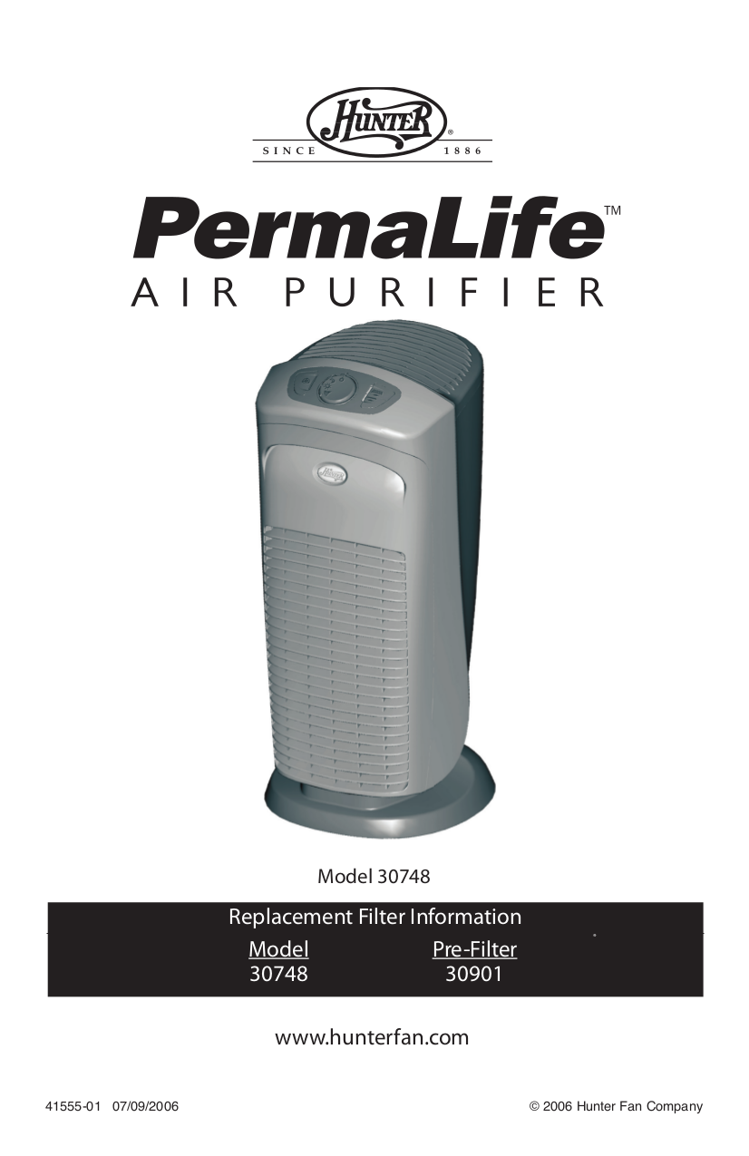 pdf for Hunter Air Purifier 30748 manual