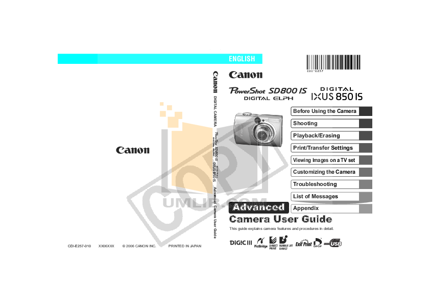 pdf for Canon Digital Camera IXUS 850 IS manual