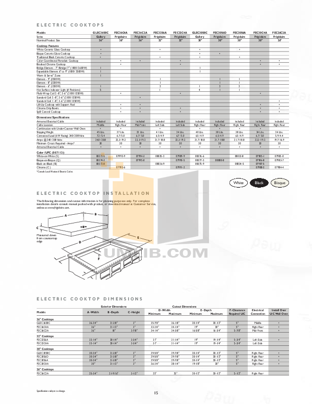 pdf for Frigidaire Range FEC26C2A manual
