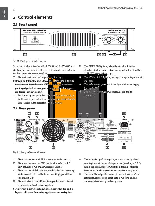 PDF manual for Behringer Amp EUROPOWER EP4000 on behringer power amps, behringer ep1500, behringer amplifiers product, behringer 4000 amp,
