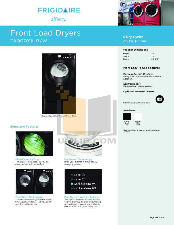 pdf for Frigidaire Dryer Affinity FAQG7011L manual