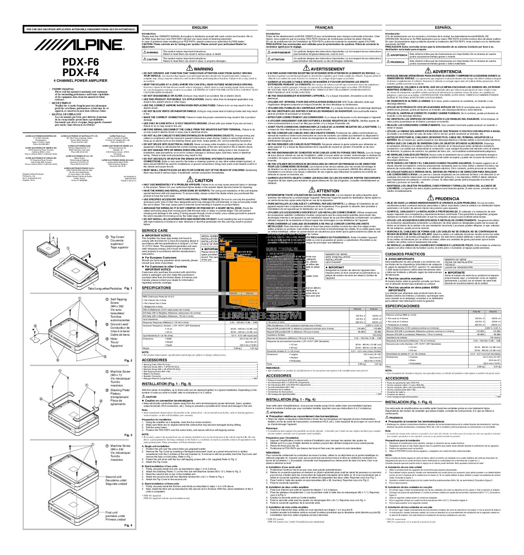 pdf for alpine car amplifier pdx-f4 manual