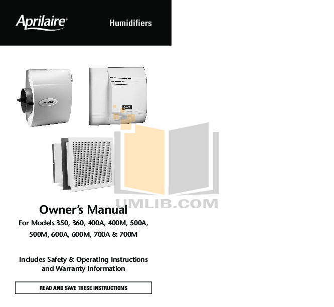 pdf for Aprilaire Humidifier 700 manual