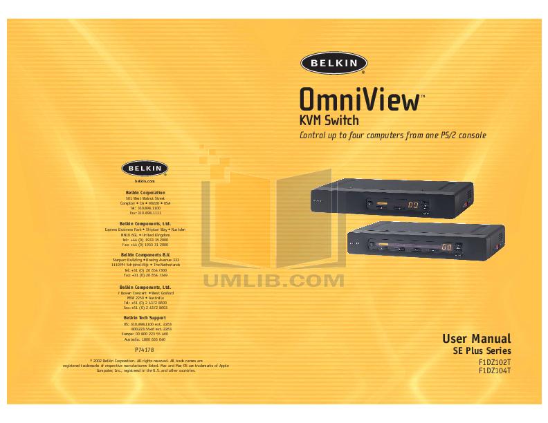 pdf for Belkin Switch F1D084 manual
