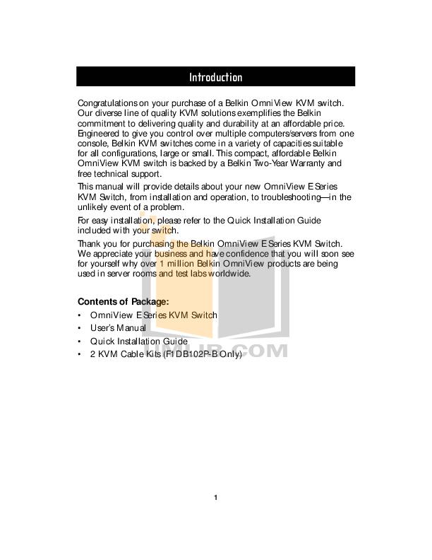 Belkin Switch F1D084 pdf page preview