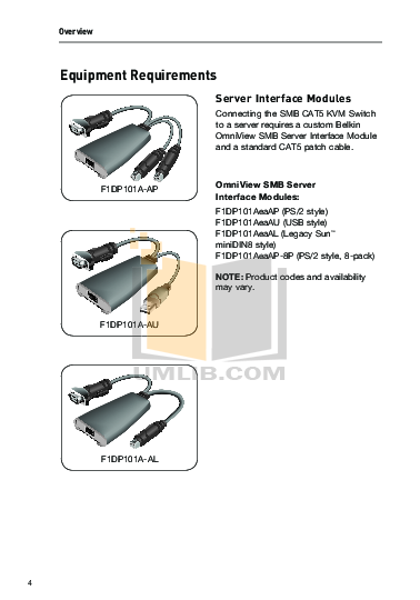 Belkin Switch F1D084 pdf page preview
