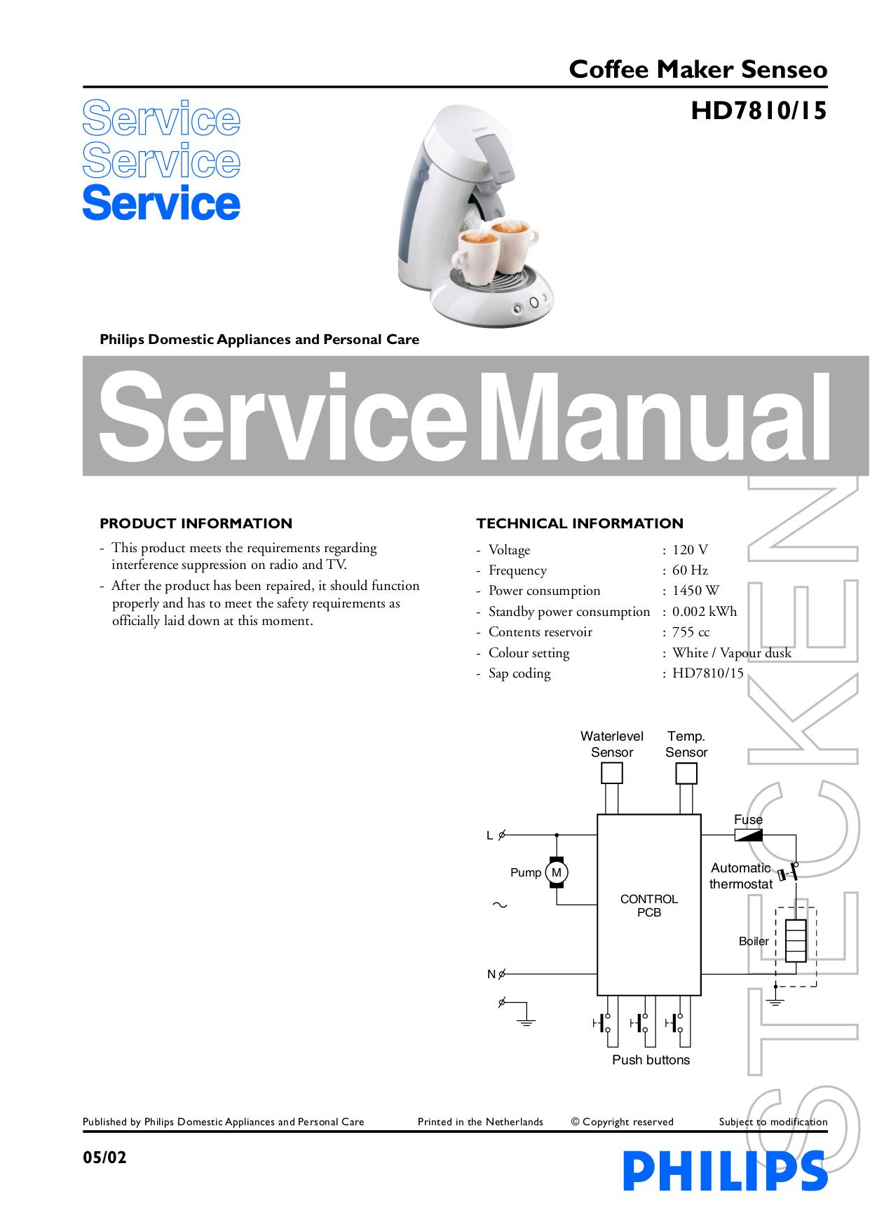 PDF manual for Philips Coffee Maker Senseo HD7810