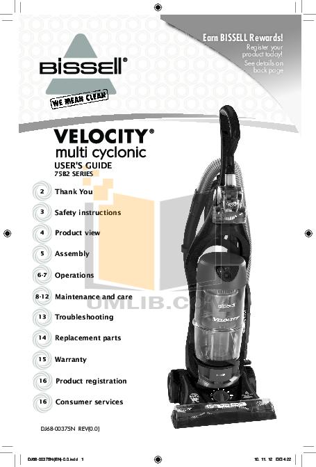 pdf for Bissell Vacuum 3950 manual