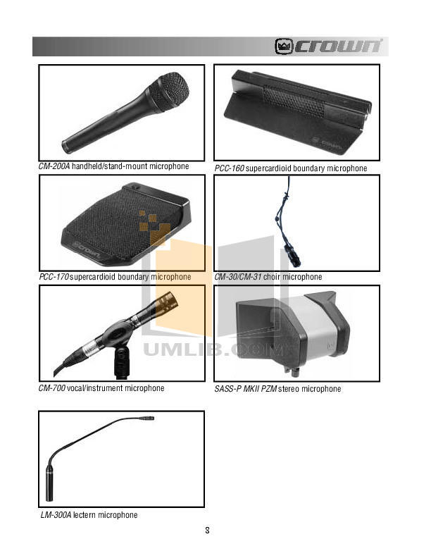 Crown Other PZM-31S Microphones pdf page preview