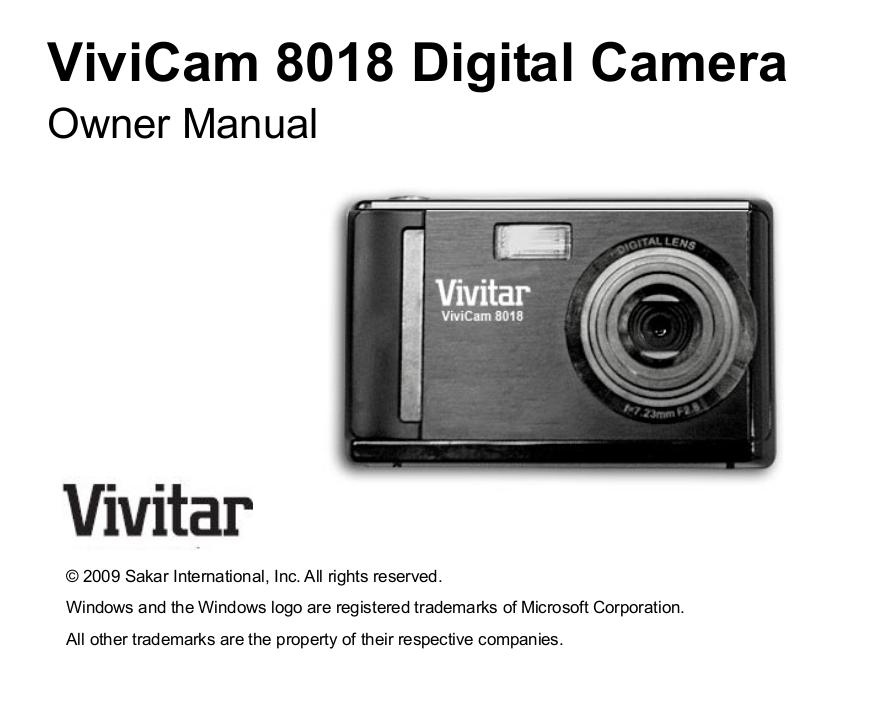 download free pdf for vivitar vivicam 8018 digital camera manual rh umlib com Sony Digital Camera Manual Camera Instruction Manuals