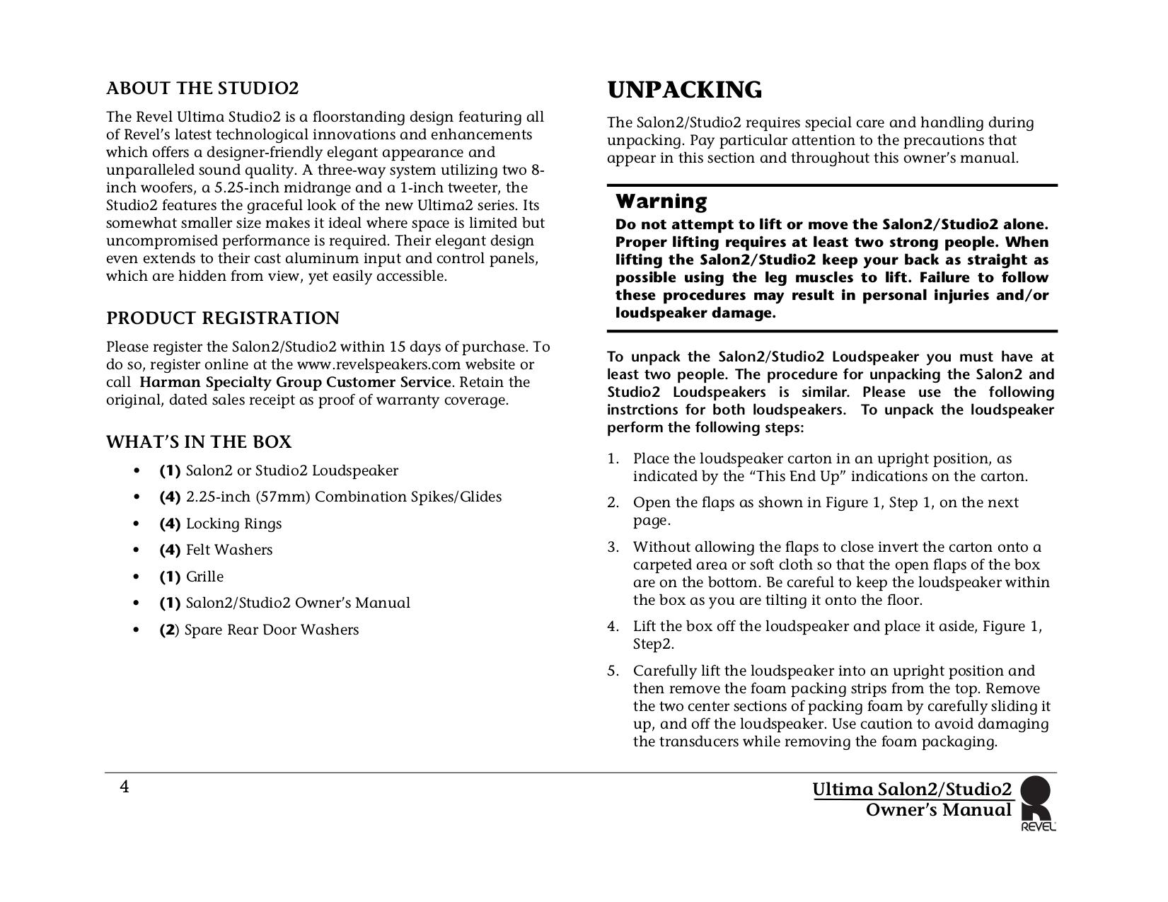 Revel Speaker Ultima2 Gem2 pdf page preview