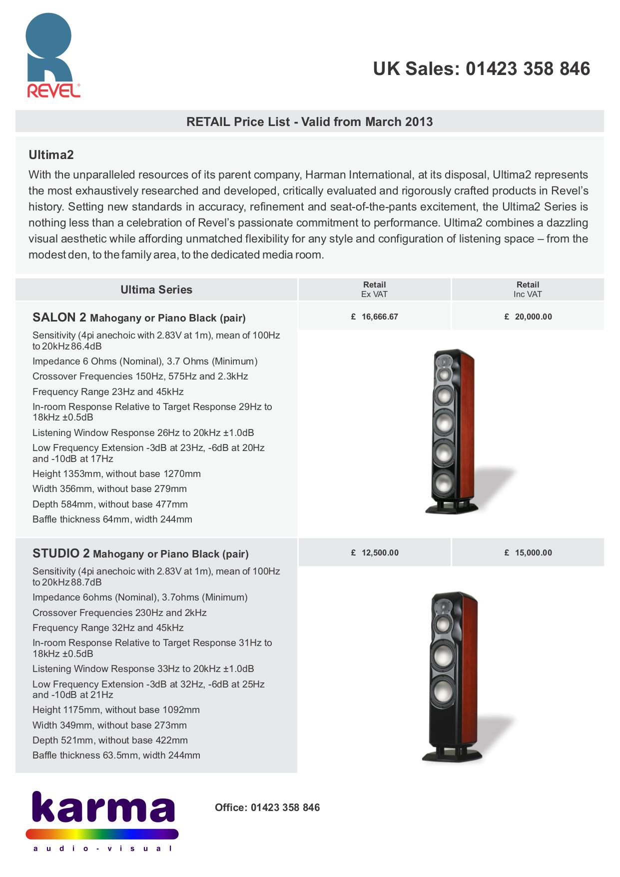 pdf for Revel Speaker Ultima2 Gem2 manual
