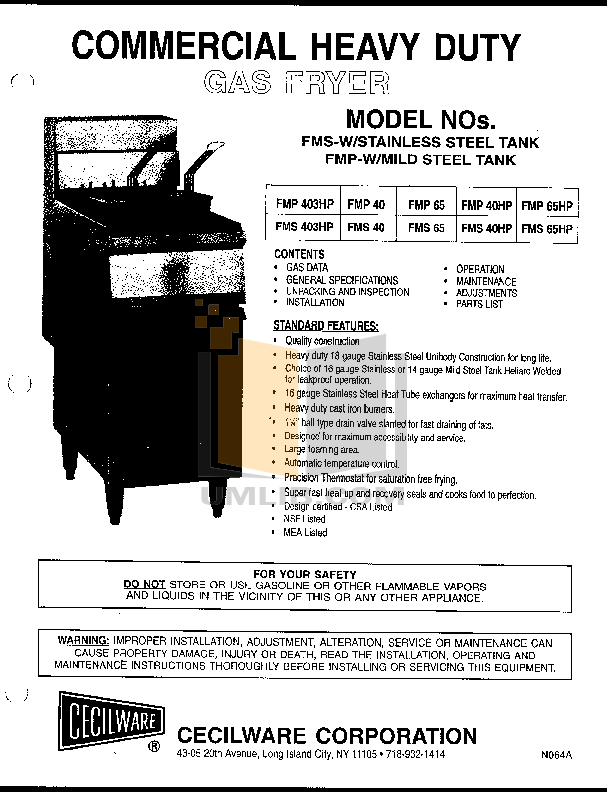 pdf for Cecilware Other FMP-40HP Fryers manual