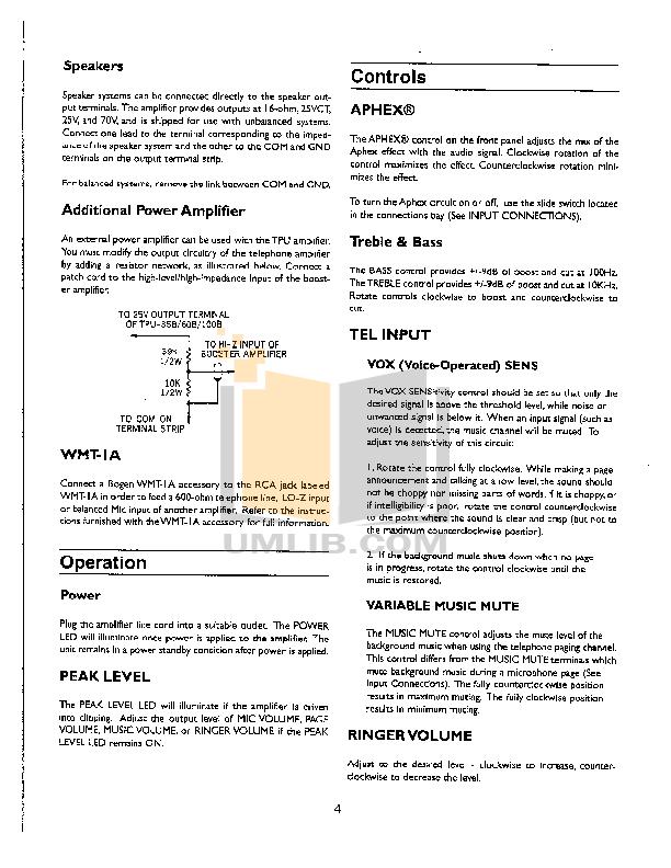pdf manual for bogen car amplifier tpu35b rh umlib com Bogen Amplifier Repair Bogen Amplifiers Schematics Hf-10A