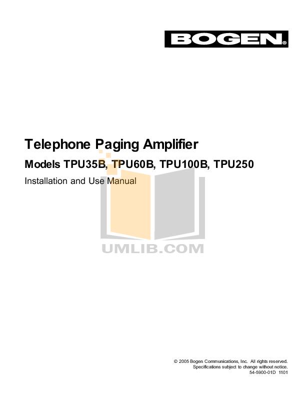 pdf manual for bogen car amplifier tpu35b rh umlib com Bogen Amplifier Repair Bogen Amp
