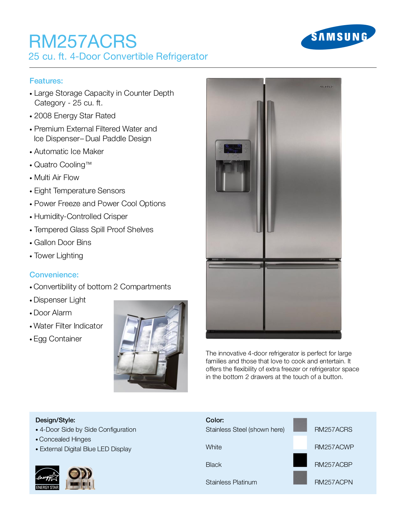 pdf for Samsung Refrigerator RS275ACPN manual