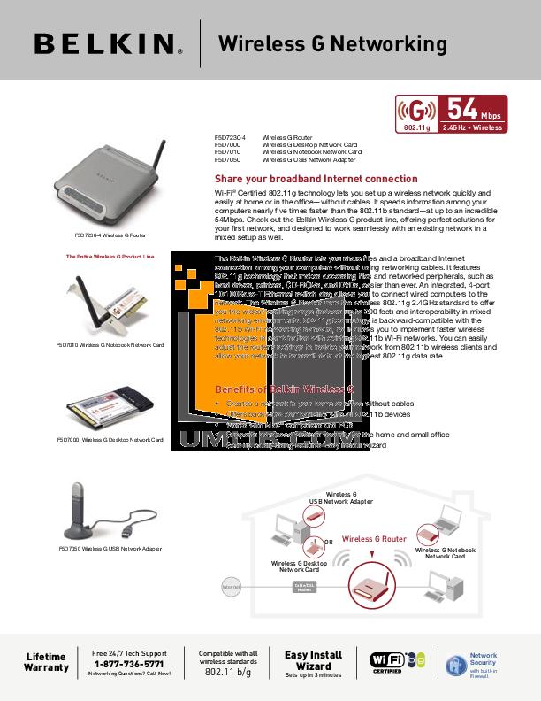 pdf for Belkin Router F5D7010 manual