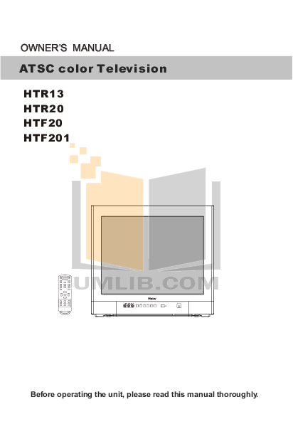 pdf for Haier TV HTR13 manual