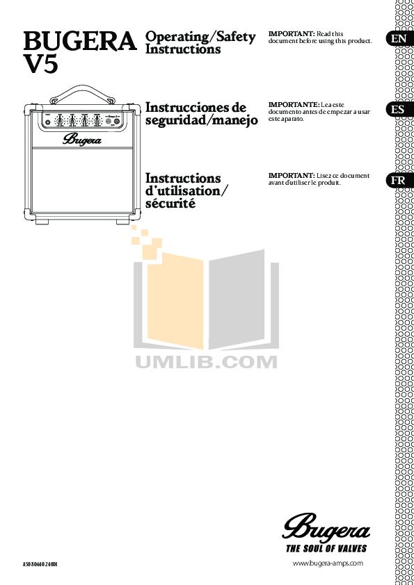 pdf for Bugera Amp V5 manual