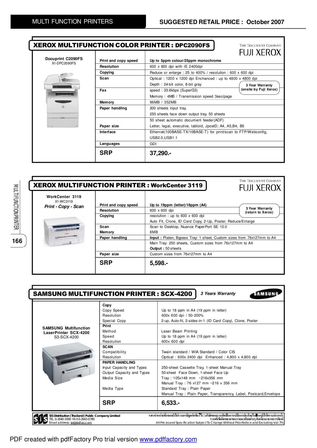 pdf for Samsung Multifunction Printer SCX-1100 manual