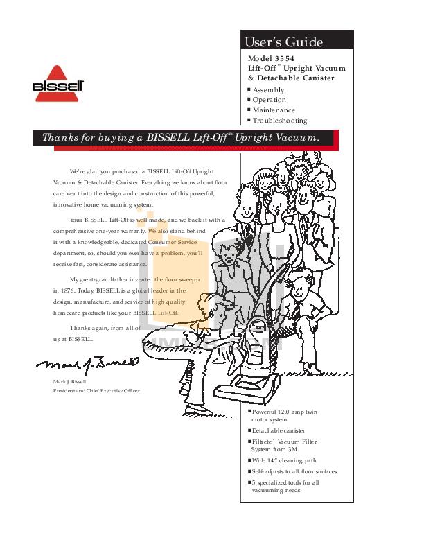 pdf for Bissell Vacuum 3920 manual