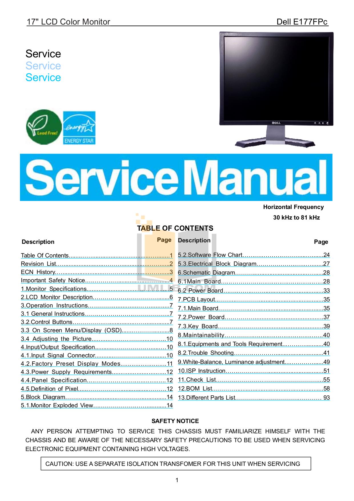 pdf for Dell Monitor E177FP manual