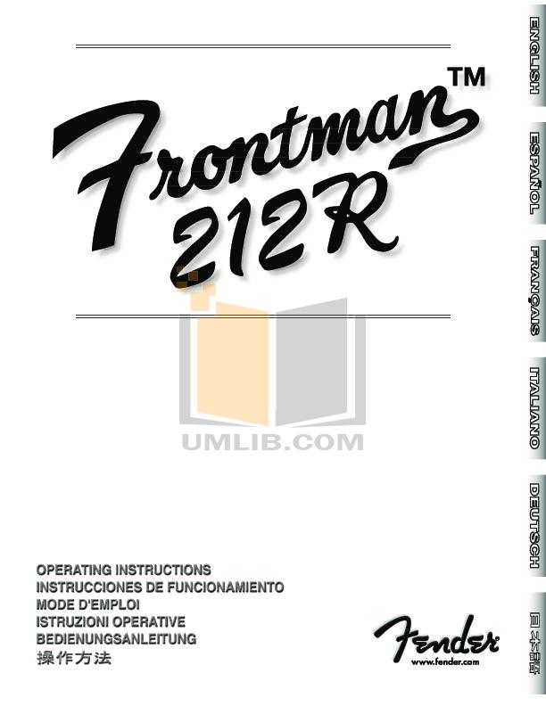 Download free pdf for fender frontman 15r amp manual.