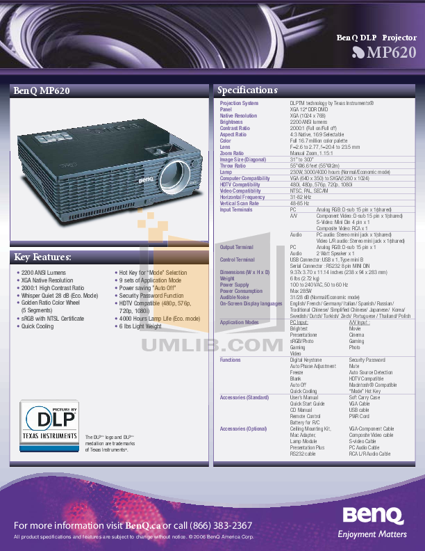 Download free pdf for benq mp620p projector manual.