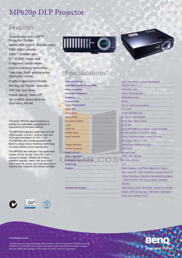 Benq projection tv w100 user's manual download free.