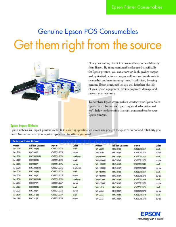 pdf for Epson Printer TM-J7100 manual