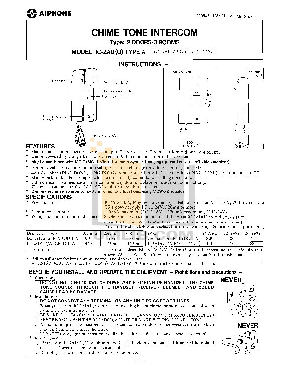 pdf for Aiphone Other IC-D2 Intercoms manual