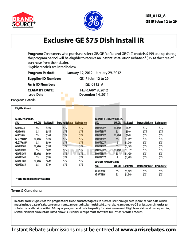 pdf for GE Dishwasher PDWT300V manual