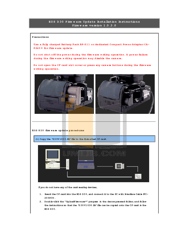 pdf for Canon Digital Camera EOS D30 manual