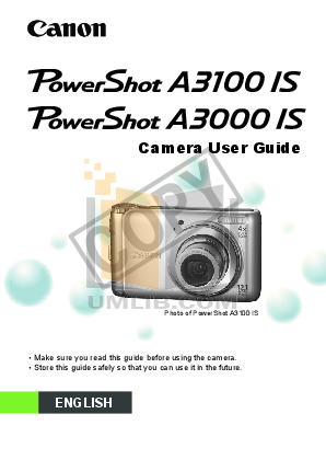 pdf for Canon Digital Camera Powershot A3100 IS manual