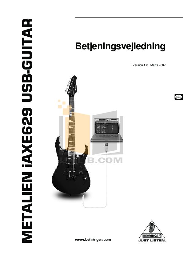 pdf for Behringer Guitar iAXE629 manual