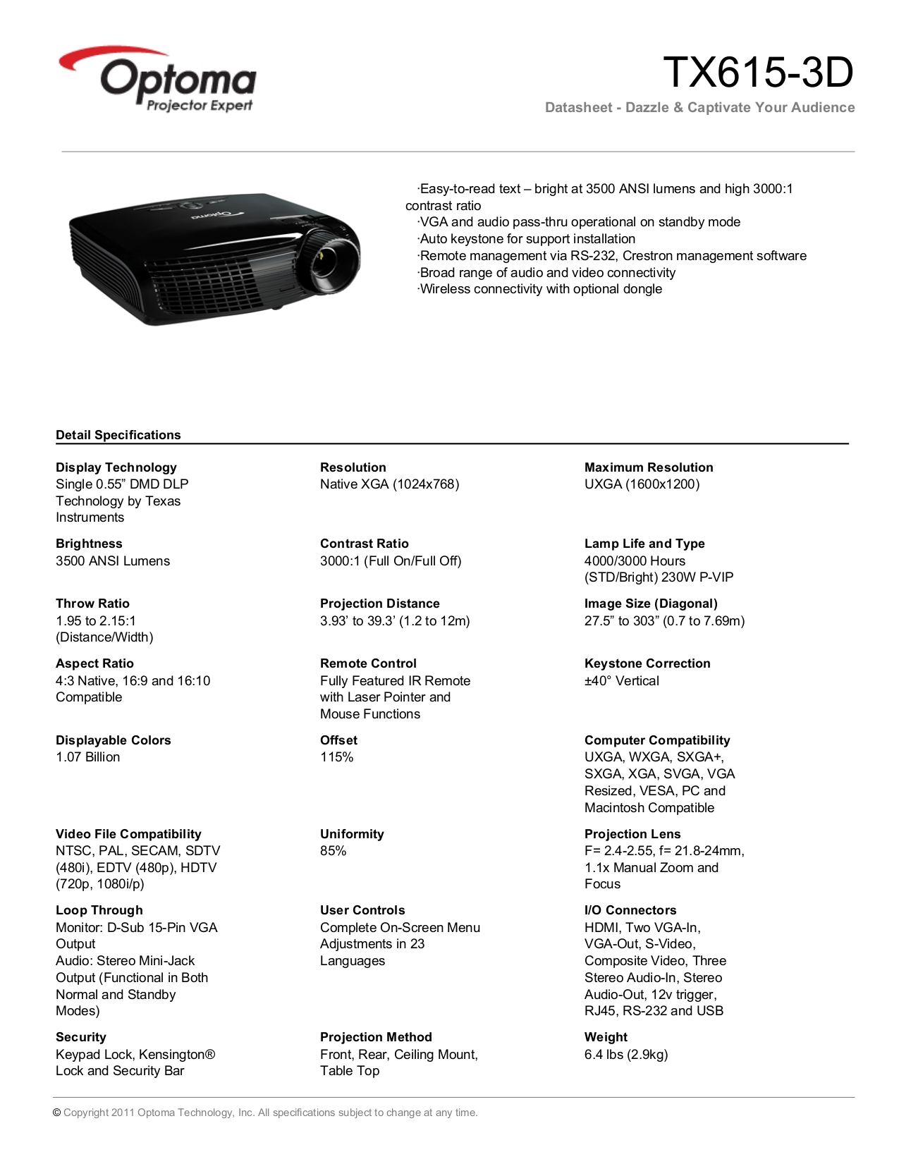 pdf for Optoma Projector TX615 manual