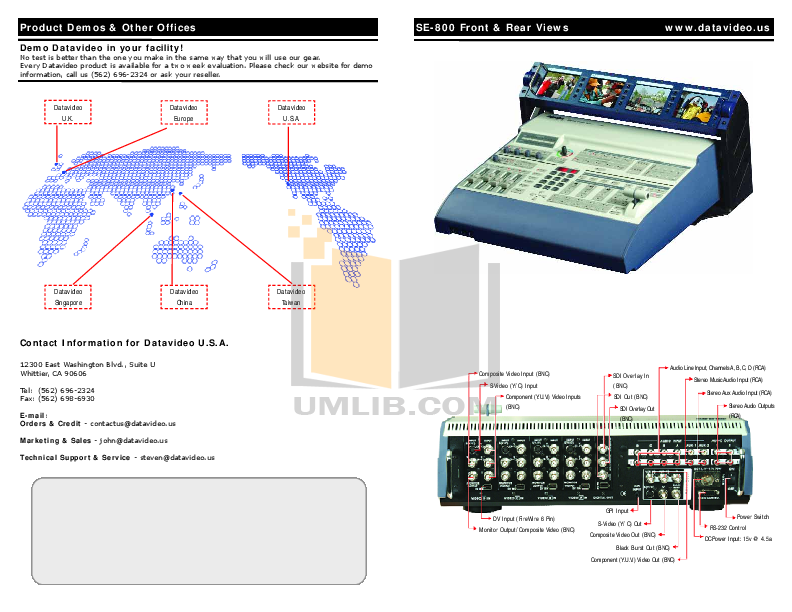 pdf for Datavideo Other RMC-120 Ethernet Control Box manual