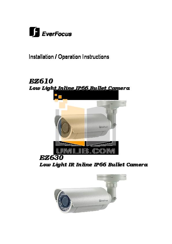 pdf for EverFocus Security Camera EZ610 manual