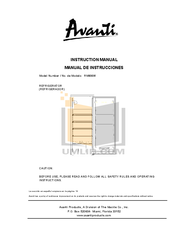 pdf for Avanti Refrigerator RM806W manual