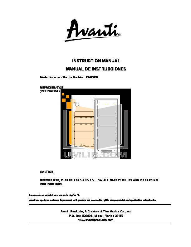 pdf for Avanti Refrigerator RM806W manual