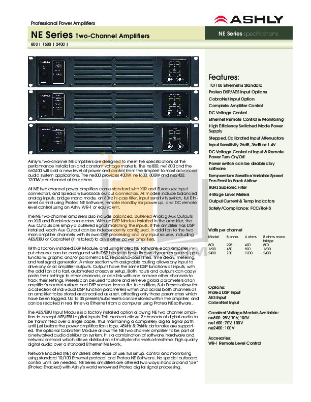pdf for Ashly Amp PE-2400 manual