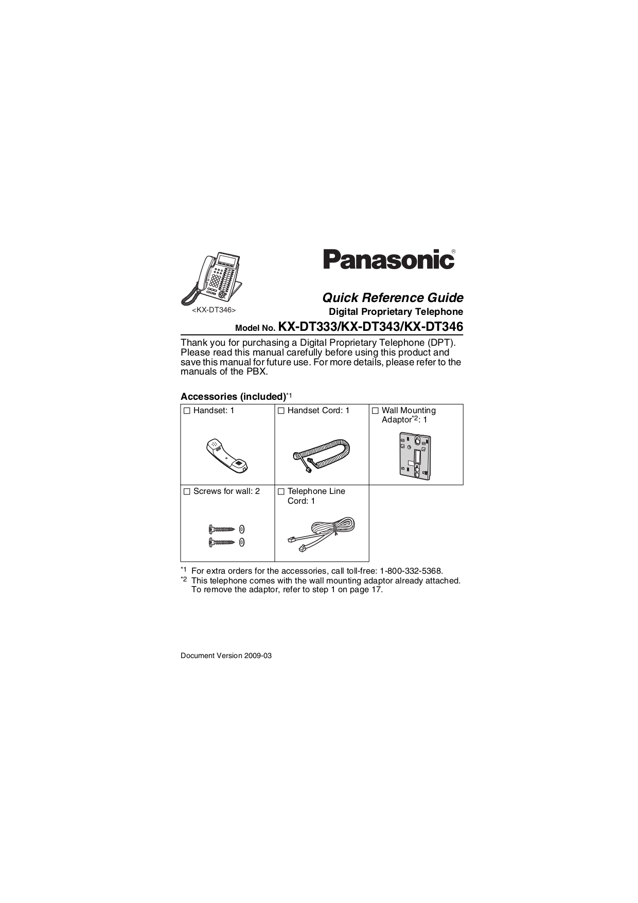 pdf for Panasonic Telephone KX-DT333 manual