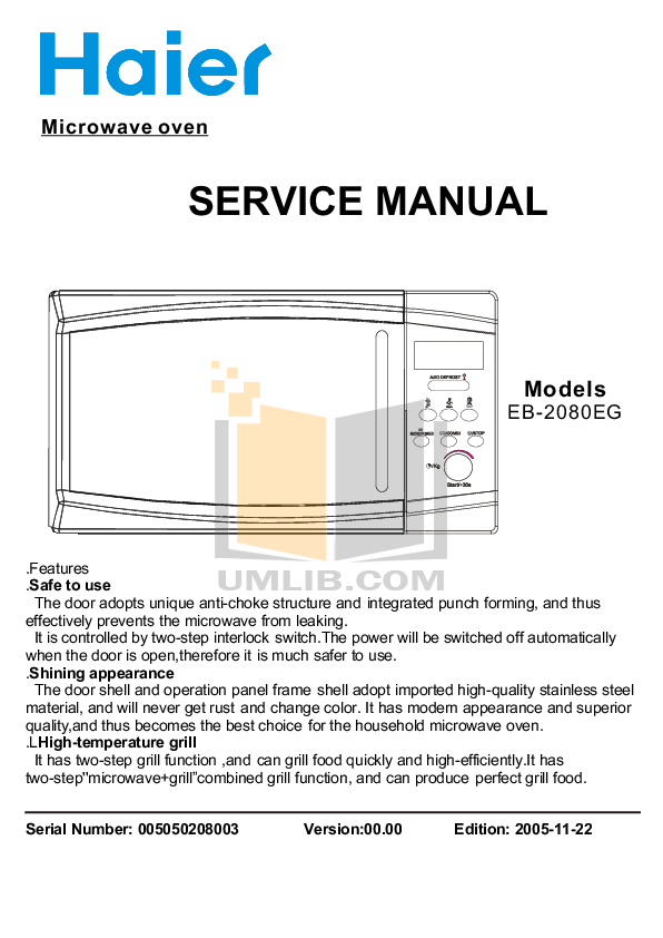 pdf for Haier Microwave EB-2080EGV manual