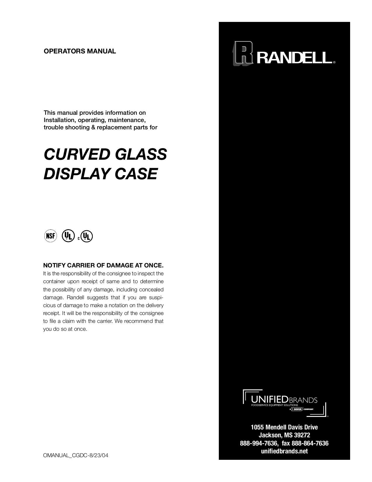 pdf for Randell Other 4161DR Merchandisers manual