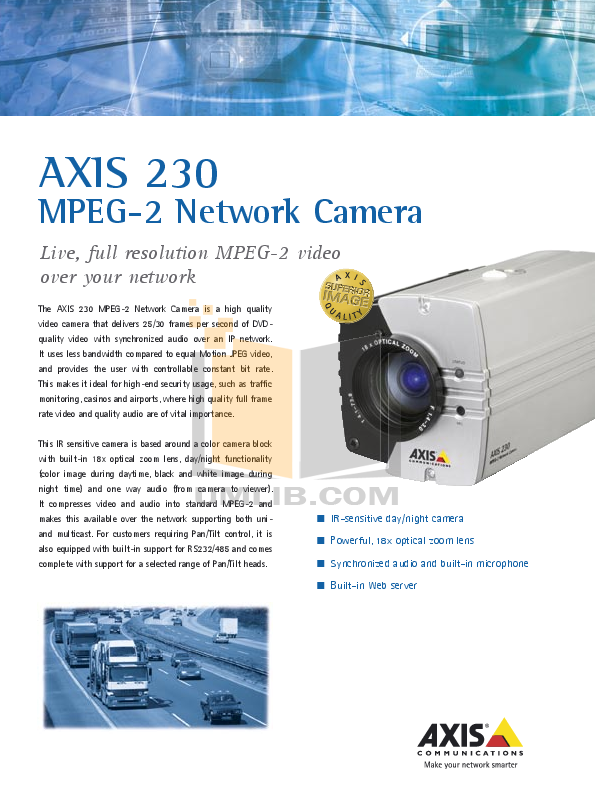 pdf for Axis Security Camera 230 MPEG-2 manual