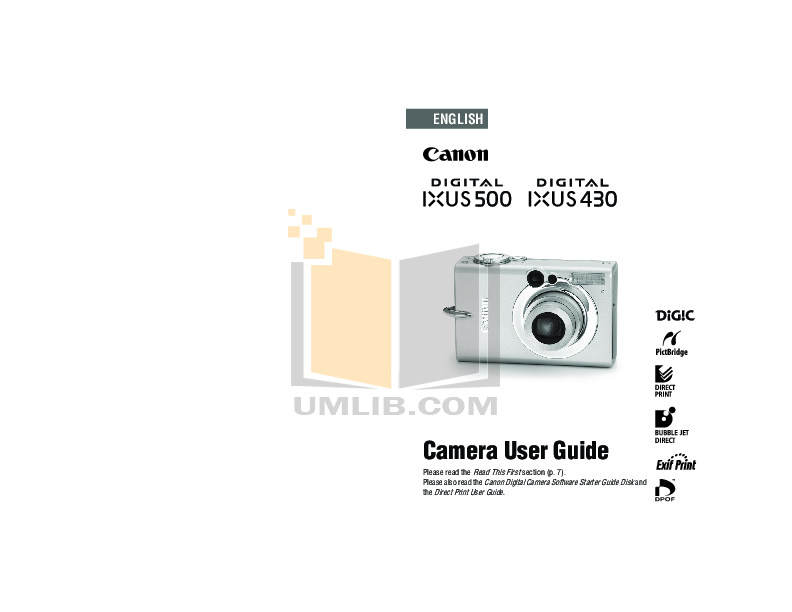 pdf for Canon Digital Camera IXUS 430 manual