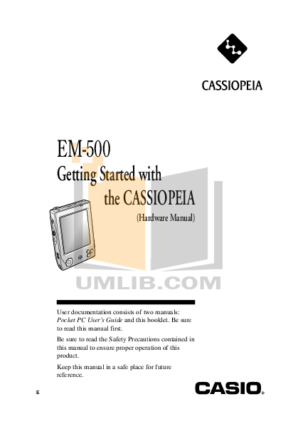 pdf for Casio PDA Cassiopeia EM-500 manual