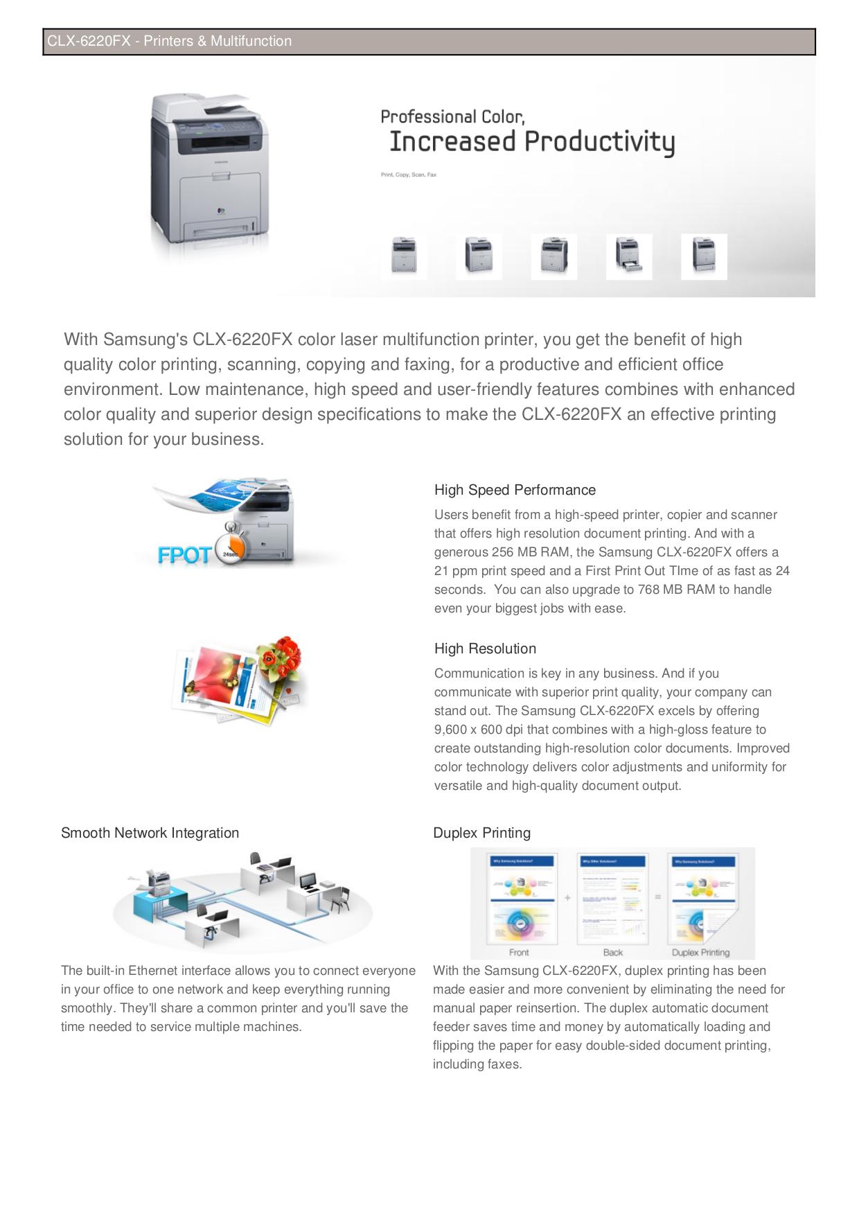 pdf for Samsung Multifunction Printer CLX-6220FX manual